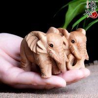 礼品挂饰 桃木大象手把件一对 木雕文玩摆件工艺品