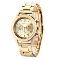 外贸爆款Geneva日内瓦情侣表女表不锈钢合金带石英表钢带手表