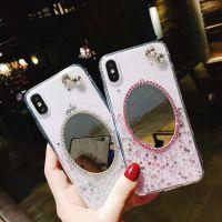 闪粉滴胶镜子iPhoneX手机壳苹果8plus化妆镜保护套潮女软胶个性壳