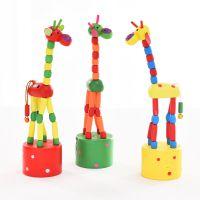 厂家直销 木制儿童礼物益智玩具可摇摆可跳舞的卡通动物长颈鹿