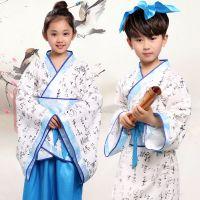 新款古装儿童国学汉服书童弟子规三字经演出服装六一表演服女棉麻