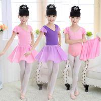 新款儿童芭蕾舞裙半袖幼儿练功服女童跳舞服开档连体舞蹈裙体操服