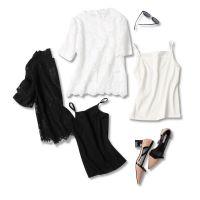 18春夏季新品 法式优雅!水溶睫毛镂空 含吊带蕾丝短袖两件套上