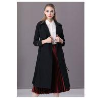 楚贝尔秋装韩版新款黑色英伦风修身中长款过膝系带风衣女气质外套