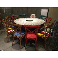 饭店田园风格火锅桌子电磁炉一体圆桌实木餐桌椅