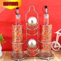厨房用品玻璃调味瓶 油壶酱油醋瓶套装 创意调料瓶子置物架组合