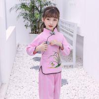 女童改良汉服秋儿童复古中国风服装民族风童装唐装2018新古套装