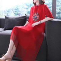 【中国韵】真丝皱旗袍 大码品牌女装折扣 刺绣大版连衣裙女装