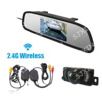 无线倒车后视系统 4.3寸后视镜+短车牌架夜视摄像头+无线收发器