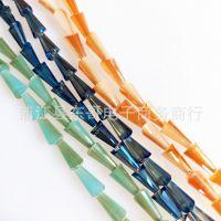 水晶珠子玻璃散珠4/6/8mm高温电镀宝塔珠直孔冰淇淋珠DIY饰品配件
