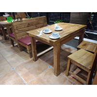 湖北菜馆 天然纯实木现代中式主题餐厅桌子 餐桌椅定做