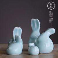 礼品.摆件|影青陶瓷小动物瓷雕兔子迷你桌面小摆件家居装饰品摆设