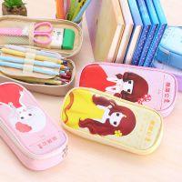 韩国创意女孩公主笔袋可爱学生文具盒大容量pu防水铅笔袋批发