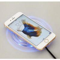 无线充电器水晶K9苹果安卓手机通用圆形底座QI发射器座充接收器