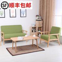 简约三人布艺沙发卡座可拼用小户型沙发床折叠床茶几实木床餐桌椅