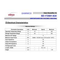 SD-172501-S34声表双工器 partron 射频IC