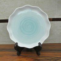 陶瓷荷叶盘欧式创意手绘盘碗碟餐具8寸加厚水果沙盘酒店餐馆饭盘