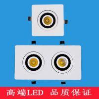 COB方型转动360度方形LED筒灯射灯单双三四头洞灯方形天花灯白黑