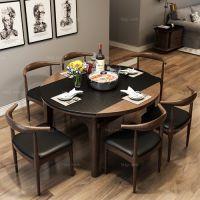 石面隐炉缩折桌 来宾多用途餐桌 柳州石木餐家具