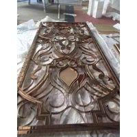 供应长春大型酒店装饰用中式304不锈钢古铜色屏风玄关