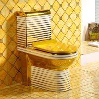 欧式酒店电镀金色虹吸式高端连体马桶座便器