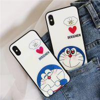 卡通哆啦A梦蓝光 玻璃机壳 iphone x蓝胖子 苹果6s全包硅胶壳叮当