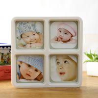 创意影楼相框摆台 宝宝周岁相框四方4格4寸相框挂墙组合相框批发