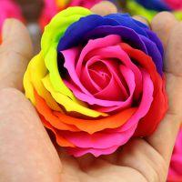 七彩香皂花批发 创意花类组装配件 木盒玫瑰花厂家直销