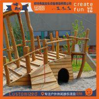 无动力木质城堡滑梯组合、木质沙滩房子儿童游乐设施、木质攀爬架