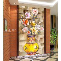 霍元甲瓷砖 现代简约高清客厅背景墙高清彩雕玉兰花瓶