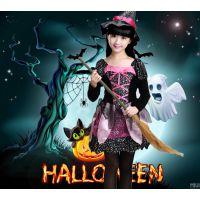 万圣节儿童服装 化妆舞会cosplay女巫婆服饰 女童公主裙魔法女巫
