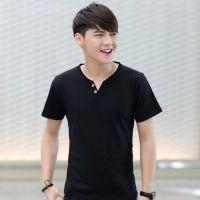 夏季男士短袖T恤V领纯色体恤打底衫韩版青少年半袖上衣夏装男装