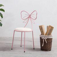 北欧网红餐厅椅子ins简约家用靠背椅创意铁艺蝴蝶结化妆椅美甲凳