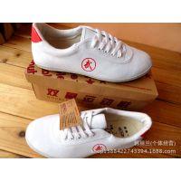 正品双星武术鞋跆拳道运动跑步平底白色系带太极鞋男女练功鞋新款