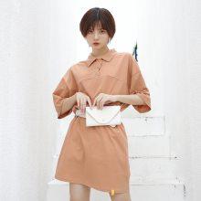 2019原创品质夏季新款 ins韩版慵懒休闲纯色宽松显瘦POLO连衣裙女
