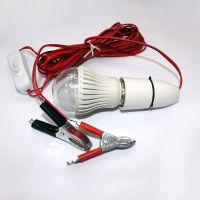 厂家生产LED球泡带鳄鱼夹子5W7W9W12W节能灯泡 夜市摆地摊用灯泡