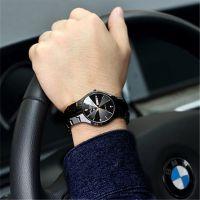 双日历钨钢色手表非机械石英表男士情侣手表防水超薄非全自动腕表