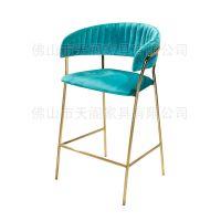 北欧设计师高脚椅 简约金属不锈钢吧椅酒吧前台休闲椅