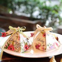 欧式婚庆结婚用品纸质婚礼喜糖盒批发三角糖果盒子个性纸盒定制