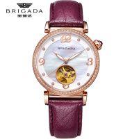 宝茄达玫瑰金镶钻石紫罗兰真皮表带进口机械机芯女士手表厂家批发