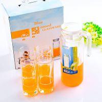 特价透明玻璃冷水壶八角水具五件套玻璃杯夏季促销凉水壶套装