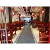 专注电动餐桌厂家 火锅酒店餐桌椅老榆木雕刻 现代中式