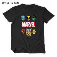 外贸新款漫威漫画 Marvel印花图案男士短袖纯棉圆领套头T恤打底衫