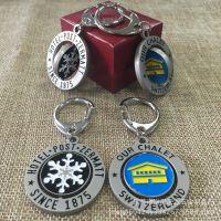 创意旋转式金属钥匙扣 锌合金电镀钥匙挂件 凹凸logo上色钥匙扣制
