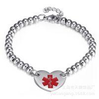 外贸欧美原单钛钢医学标志红色滴胶不锈钢珠子手工心形女士手链
