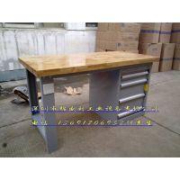 锦盛利QZT-1044 榉木钳工桌 双工位配虎钳工作台榉木桌面