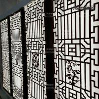 苏州中式铝窗花 茶楼木纹转印铝隔断