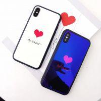情侣款蓝光镜面玻璃壳iphone8X忙着可爱7plus意中人手机保护壳6s