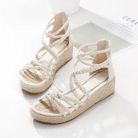 一件代发2018新款女凉鞋定单不规则麻棉编织带罗马凉鞋麻底小坡跟