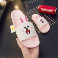 2018夏季布朗熊可妮兔男女成人防滑儿童情侣塑料拖鞋亲子款凉拖鞋